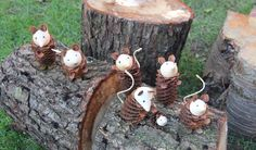 Handmade Mice Family from a natural pinecone with hand turned wood face, fir cone, woodland animal, hand carved head X3