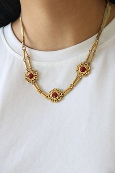 Multi Strand Gold Necklace Gold Circle Rope Necklace Red