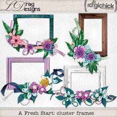 The Digichick :: Element Packs :: A Fresh Start: cluster frames