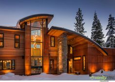 Lovely facade of the Martis Camp House Mountain Retreat Near Lake Tahoe Radiates Cozy Brilliance Houses Architecture, Amazing Architecture, Interior Architecture, Contemporary Architecture, Contemporary Interior, Style At Home, Log Homes, Home Fashion, Exterior Design