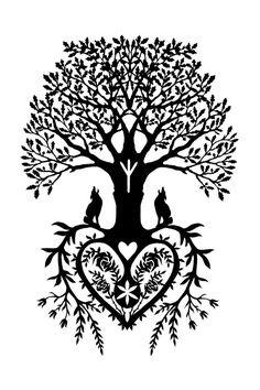 Tree of Life Cut Paper Fine Art Print by LittleGoldFoxDesigns, $26.00