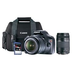 Canon T3 18-55IS DSLR Camera; EF 75-300 Lens; Gadget Bag, and 4GB Memory Card Bundle; $500
