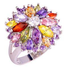 lingmei Wholesale Peridot Garnet Citrine Amethyst Multi-Color Silver Ring Size 6 7 8 9 10 11 12 13 Women Jewelry Flower Design