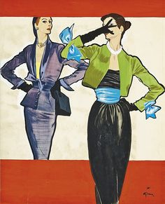 Fashion illustration by Rene Gruau, 1950