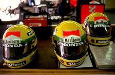 Helmets of Ayrton Senna (1990).