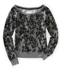 Long Sleeve Leopard Print Fleece Sweatshirt from Aeropostale.