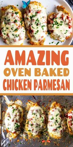 This delicious Oven Baked Chicken Parmesan recipe is easy and doesn't require any frying. Because this chicken Parmesan is baked, it is healthy, quick and easy! Make this crispy baked Parmesan crusted chicken for dinner tonight in about thirty minutes! Easy dinner recipe | Chicken recipe | Dinner recipe | Chicken breast recipe | Olive garden copycat | Healthy panko crusted chicken | Parmesan crusted chicken #chickenparmesan #chickenrecipe #easydinnerrecipe<br> Baked Parmesan Crusted Chicken, Healthy Chicken Parmesan, Easy Baked Chicken, Baked Chicken Breast, Baked Chicken Recipes, Recipe Chicken, Easy Recipes With Chicken, Healthy Chicken Meals, Chicken Parmesean