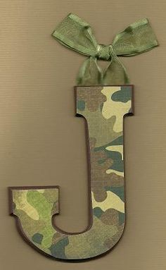 Monogram letter decoupaged hung with ribbon Boys Army Bedroom, Army Room, Camouflage Room, Camo Rooms, Camo Baby Stuff, Scrapbook Paper, Bedroom Ideas, Kids Room, Ribbon