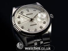 Rolex Datejust 16234. Circa 2002. Lovely silver diamond dot dial with white gold fluted bezel. We Buy and Sell Rolex Datejust Watches. Contact Us - www.watches.co.uk #rolex #datejust #watches #luxurylife #watchporn