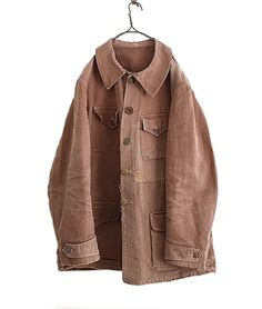 LILY1ST VINTAGE 1930-40'S FRENCH LINEN MIXED CRUSH CANVAS HUNTING JACKET - FLORAISON