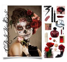 """Crimson"" by frida-marie-ording on Polyvore featuring beauty, Manic Panic NYC, MAC Cosmetics, Christian Dior, Lumière, Burberry, Giorgio Armani, Stila, Tom Ford and Chanel"