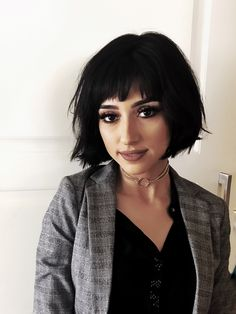 Short bob with bangs and texture.