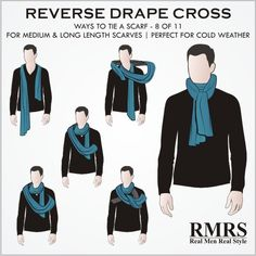Very similar to the Reverse Drape Tuck, this knot works great for longer scarves. Mens Scarf Fashion, Mens Fashion Blog, Scarf Knots, Diy Scarf, Scarf Wrap, Ways To Wear A Scarf, How To Wear Scarves, Mens Silk Scarves, Tie Scarves