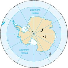 1. South Geographic Pole 2. South Magnetic Pole (2007) 3. South Geomagnetic Pole (2005) 4. South Pole of Inaccessibility