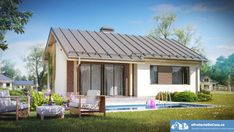 Simple and Inexpensive One Storey House with Gable Roof with Small . Roof Design, House Design, Interior Design Your Home, Atrium House, Tiny House Big Living, One Storey House, Beautiful Small Homes, 2 Bedroom House Plans, Architecture Art Design