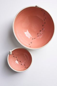 TWEET BOWL, modern whimsical pottery bowls. coral, salmon, peach, quirky ceramic bird bowl. decorative, serving dish.