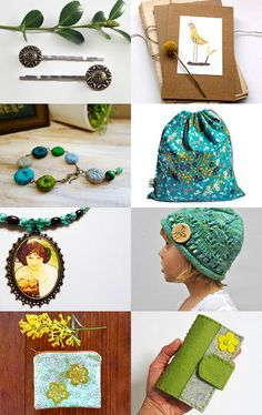 Golden green and aqua blue....a beautiful treasury by Eclecticmoi featuring Little Alligator's swim bag.