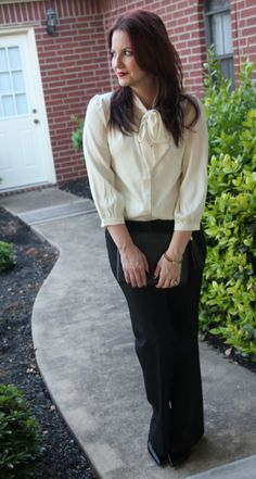Work Style Office look, Tie Neck Bow Blouse with Black Trousers