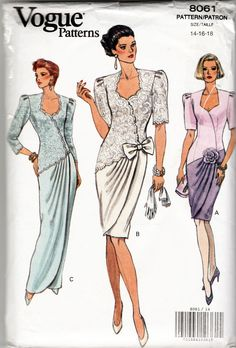 1990's (1991) Misses' Dress Sewing Pattern - Vogue 8061 - Size 14-16-18. The sewing patterns and instructions are for 3 mock wrap dresses (shown 3 variations) - 2 lengths (mid-knee or evening length).