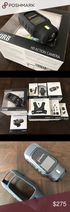 Garmin Virb HD + Accessories Liken new (3 times used) I sell my motorcycle so I don't use it anymore. Bunch of accessories brand new in box. This ultra portable action camera (similar to GoPro) takes HD video and still photos in 16MP, 12MP and 8MP, time lapse and burst mode. One charge up to 3 hours of recording. Many accessories like remote control, wrists adapter, action vest, dive case, silicon cover, screen protector, tripod mount etc. Garmin Other