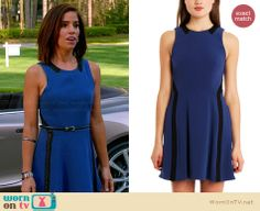 Marisol's blue fit and flare dress with leather trim on Devious Maids.  Outfit Details: http://wornontv.net/33578/ #DeviousMaids