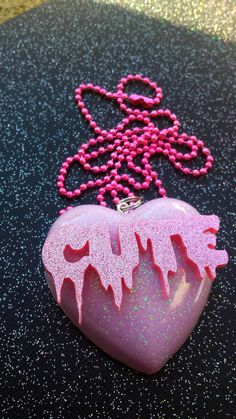 Cute Resin Heart Pendant / Pastel Goth Sweet by DreadfulDarlingArt