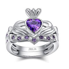 Heart Cut Crown Amethyst Rhodium Plated Sterling Silver Women's Ring