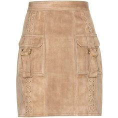 Balmain Suede Miniskirt (10.130 BRL) ❤ liked on Polyvore featuring skirts, mini skirts, balmain, mini skirt, balmain skirt, short skirts and suede skirt