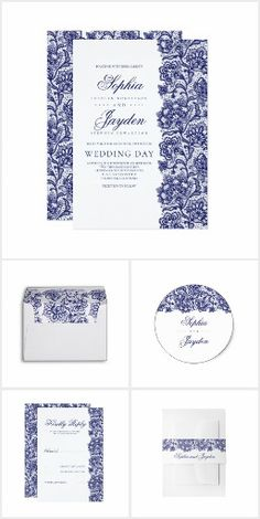 Navy Blue Lace Invitation Collection.Navy blue lace elegant invitation suite #ad
