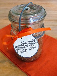 Pumpkin Spice Sugar Scrub! My life is complete. Pumpkin spice anything is my all time favorite.