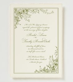 """""""Garden Wedding"""" Invite, really like the curvy lines/vines from the corners to give it a softer look.  Don't mind the greens either"""