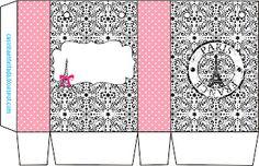 Princesses White: 15 Years Party Kit or Paris Wedding Theme (Free Printable) Paris Crafts, Eid Crafts, American Girl Bakery, Box Template Printable, Free Printable, Printable Party, Templates, Eiffel Tower Craft, Ideas Sorpresa