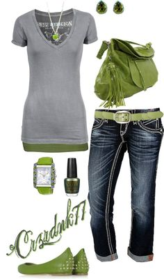 """Olive and Grey"" by crzrdnk77 on Polyvore"