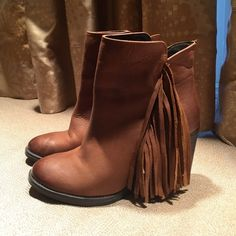 Steve Madden Woodstock Fringe Booties Steve Madden fringe booties! I just don't wear them enough to keep them! Great condition, very cute! Steve Madden Shoes Ankle Boots & Booties