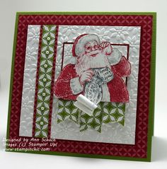 Santa's List -  Ann Schach,Stamp Set: Santa's List; Inks: Cherry Cobbler, Smoky Slate, Smoky Slate Stampin' Write Marker; Designer Series Paper: Season of Style; Card Stock: Whisper White, Cherry Cobbler, Old Olive Textured; Tools: Big Shot, Petals-a-Plenty Textured Impressions Embossing Folder, Paper Snips; Glitz and Glam: Pearl Basic Jewels