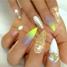 I know I posted this set a little over a week ago but I can't get over it, my absolute fav set Exotic Nail Designs, 3d Nail Designs, Fingernail Designs, Sassy Nails, Cute Nails, Pretty Nails, Nail Swag, Minion Nails, Stiletto Nail Art