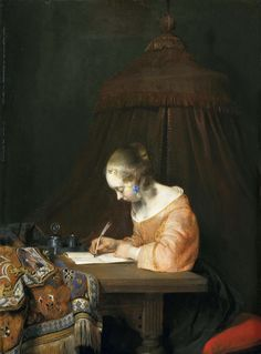 Gerard ter Borch - A Woman Writing a Letter [c.1655] |