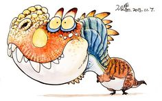 T-rex by bu2ma on DeviantArt dinosaur cartoon character design paleo watercolor daily cute