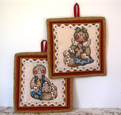 Gingerbread Girl and Boy Quilted Pot Holders Brown and Blue | QuiltTops - Housewares on ArtFire
