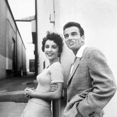 Elizabeth Taylor and Montgomery Clift pose outside at Paramount Studios during a break in filming A Place in the Sun, 1950, photo by Peter Stackpole