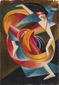 "Alexandra Exter (Russian, 1884 - Costume Design for ""Salome"" by Oscar… Art Deco Paintings, Dance Paintings, Action Painting, Harlem Renaissance, Gouache, Happy Birthday Vintage, Avantgarde, Vintage Illustration Art, Cubism Art"