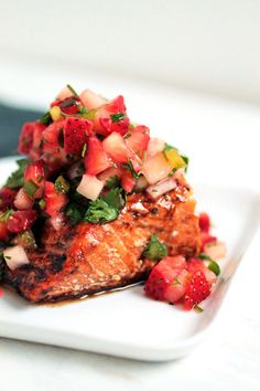Balsamic Glazed Salmon with Strawberry Salsa