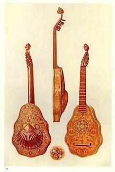 Musical Instruments by Hipkins -Chromo- PL.VII - LUTE - Antique Print - 1923