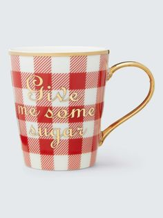 Printed with charming phrases and finished with pretty gold trim, these mugs somehow make tea taste even better (they do!). And of course we southern gals love our gingham. Mugs sold as a set of 2 of the same color.