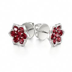 Ruby Flower Earrings