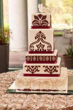 Red and Gold Damask Ethiopian/Eritrean Wedding Cake-TheKnot.com