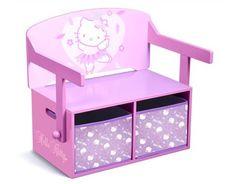 Banc Hello Kitty 3 en 1 avec tiroirs et table intégrés