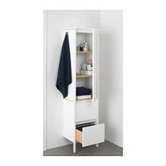 IKEA - YDDINGEN, High cabinet, , Hooks for towels or other things that you want to have within easy reach.Adjustable feet for increased stability and protection against wet floors.You can move the shelves and adjust the spacing according to your personal needs.You can mount the door to open from the right or left.