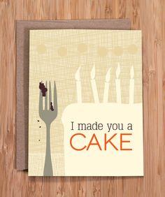 funny birthday card / cake. $3.50, via Etsy.