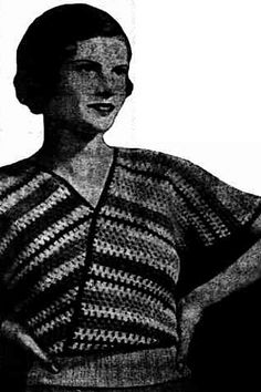 Ravelry: A Simple Crochet Jumper pattern by Evette. The Sunday Times, Sunday 11 August 1935 Trove. This pattern is available for free.  A four-tone color scheme and smartly-arranged stripes feature in this unusual and quickly-made jumper. It is really four straight strips, joined with a band of ribbing. http://nla.gov.au/nla.news-article59448321